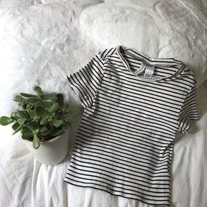 White and black striped ribbed tee